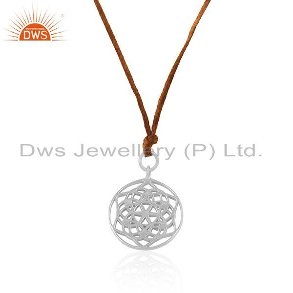 Exporter Brown Cord Fine Sterling Plain Silver Pendant Jewelry Manufacturer