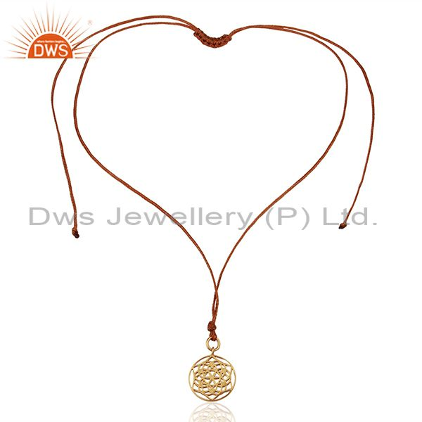 Exporter Flower of Life 925 Sterling Silver Brown Silk thread Pendant And Necklace