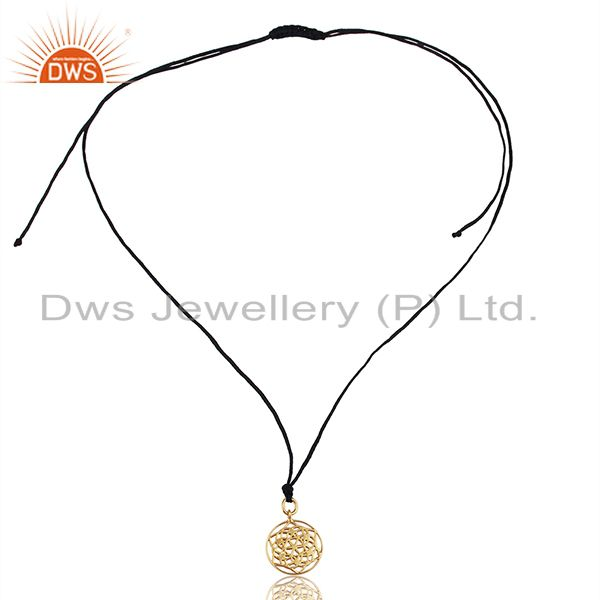 Exporter Flower of Life 925 Sterling Silver Dark Blue Silk thread Pendant And Necklace