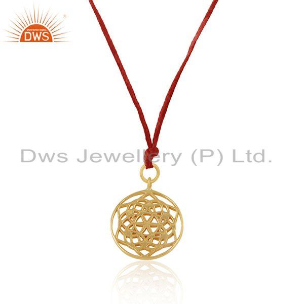 Exporter Gold Plated Sterling Silver Filigree Design Red Cord Pendant Wholesale