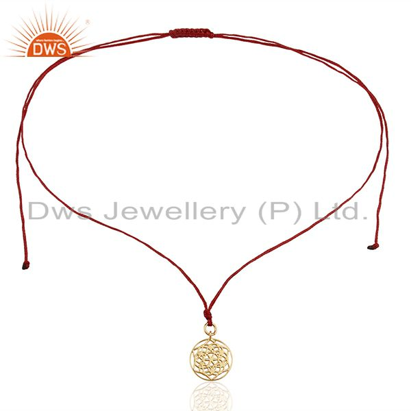 Exporter Flower of Life 925 Sterling Silver Dark Red Silk thread Pendant And Necklace
