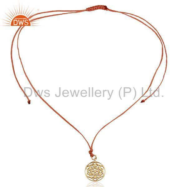 Exporter Flower of Life 925 Sterling Silver Orange Silk thread Wholesale Jewelry