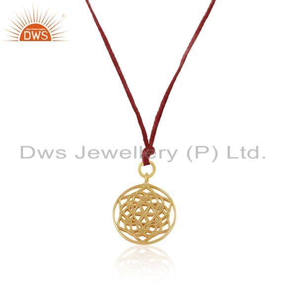 Exporter Yellow Gold Plated Sterling Silver Pink Macrame Handmade Pendant