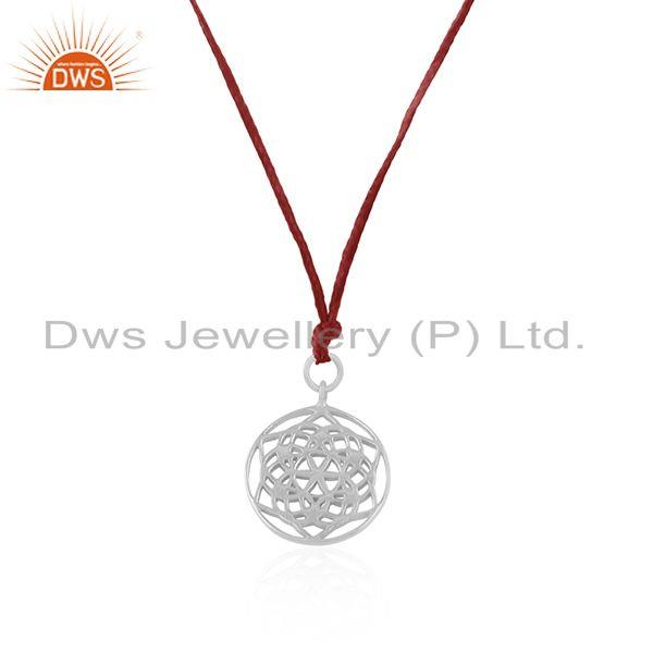 Exporter Handmade Pink Macrame Pendant With Fine Sterling Plain Silver Jewelry