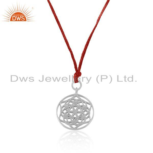 Exporter Fine Sterling Plain Silver Designer Pendant With Red Macrame Cord