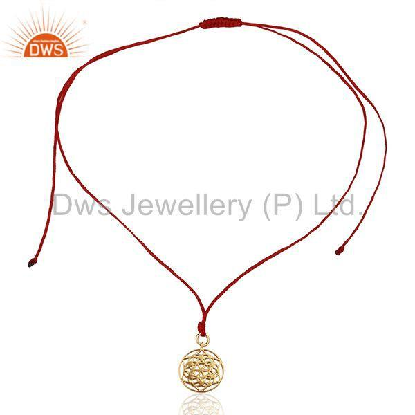 Exporter Flower of Life 925 Sterling Silver Red Silk thread Pendant And Necklace Jewelry