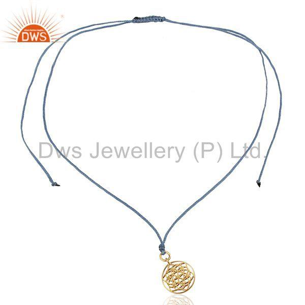 Exporter Flower of Life 925 Sterling Silver Rose Gold Plated Sky Blue Silk thread Jewelry
