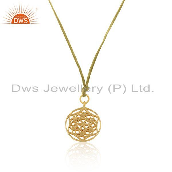 Exporter Yellow Gold Plated Sterling 925 Silver Macrame Pendant Necklace
