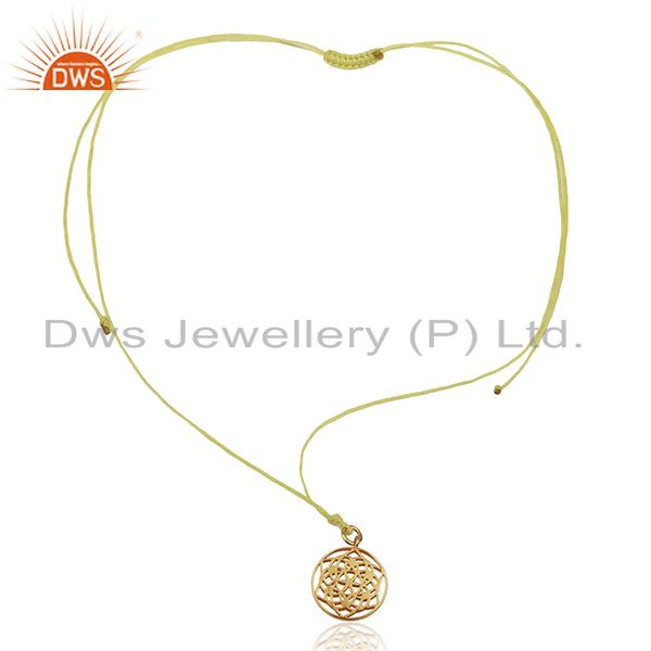 Exporter Flower of Life 925 Sterling Silver Yellow Silk thread Pendant And Necklace