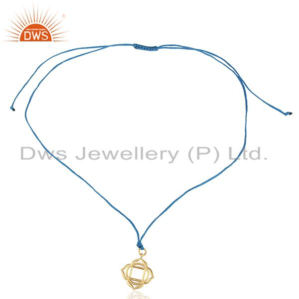 Exporter Muladhara Roots 925 Sterling Silver Rose Gold Plated Blue Silk Thread Pendant