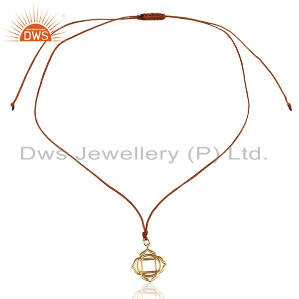 Exporter Muladhara Roots 925 Sterling Silver Rose Gold Plated Brown Silk Thread Pendant