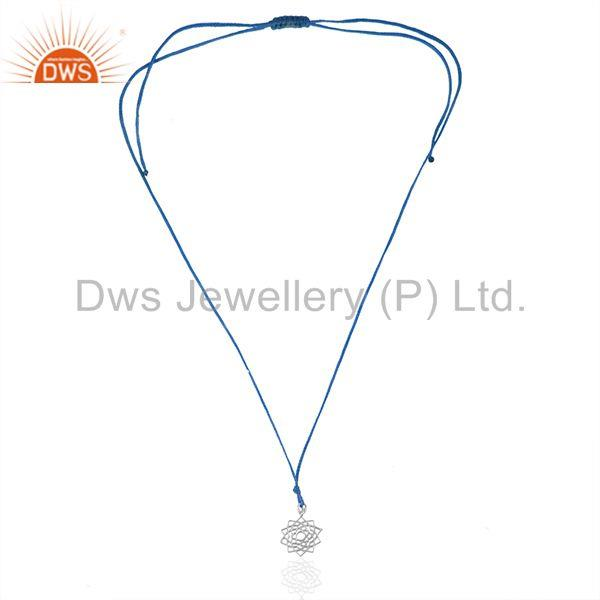 Exporter Blue Macrame Plain Sterling 925 Silver Lucky Charm Pendant Wholesale