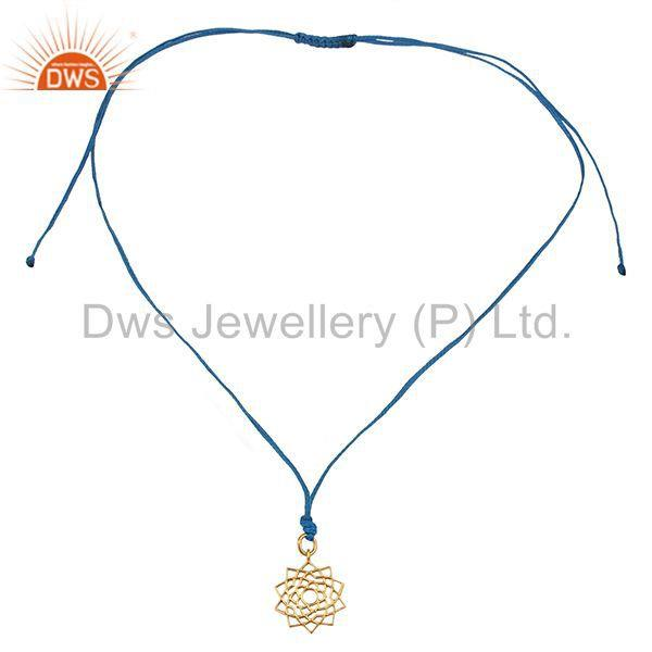 Exporter Sahasrara chakra 925 Sterling Silver Rose Gold Plated Blue Silk Thread Jewelry