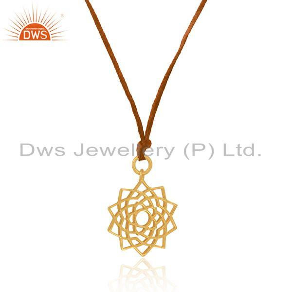 Exporter Yellow Gold Plated Sterling Plain Silver Brown Macrame Cord Pendant