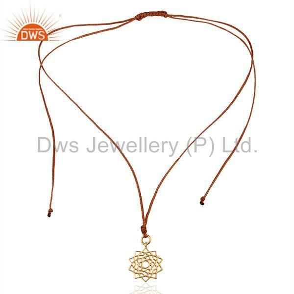 Exporter Sahasrara chakra 925 Sterling Silver Rose Gold Plated Brown Silk Thread Pendant