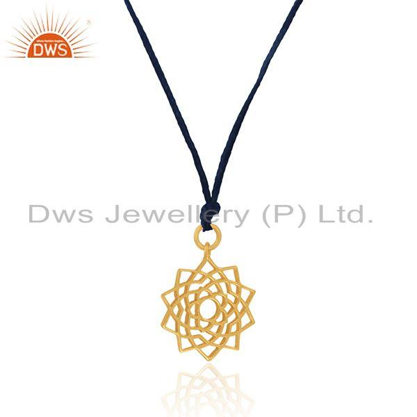 Exporter Designer Yellow Gold Plated 925 Sterling Plain Silver Pendant Supplier