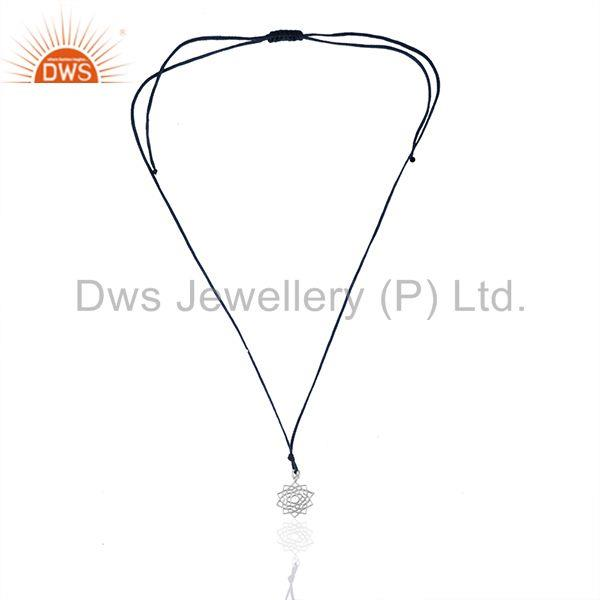 Exporter Dark Blue Cord White Sterling Silver Lucky Charm Pendant Manufacturers