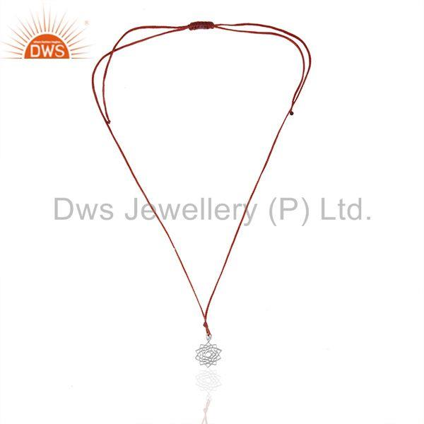 Exporter Indian Lucky Charm 925 Plain Silver Red Cord Unisex Pendant Wholesale