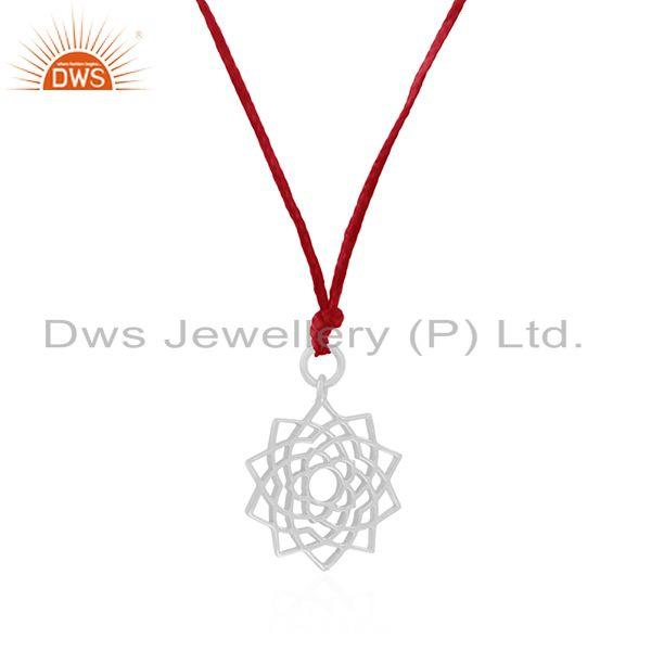 Exporter Pink Macrame Cord 925 Sterling Plain Silver Pendant Manufacturers