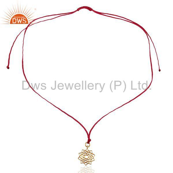 Exporter Sahasrara chakra 925 Sterling Silve Pink Silk Thread Wholesale Pendant Jewelry