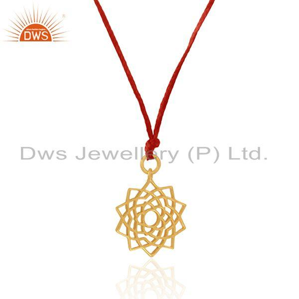 Exporter Red Macrame Cord Filigree Design Gold Plated 925 Silver Pendants