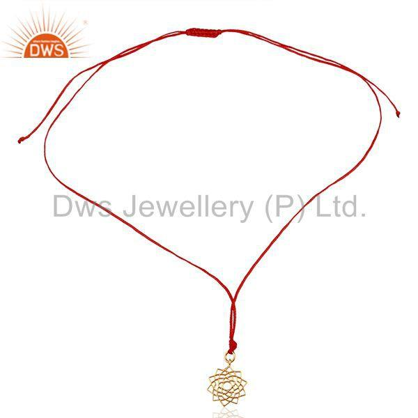 Exporter Sahasrara chakra 925 Sterling Silver Red Silk Thread Pendant And Necklace