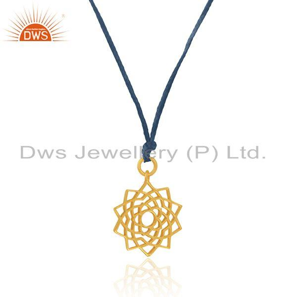 Exporter Sky Blue Macrame Cord Gold Plated 925 Silver Pendant Manufacturer