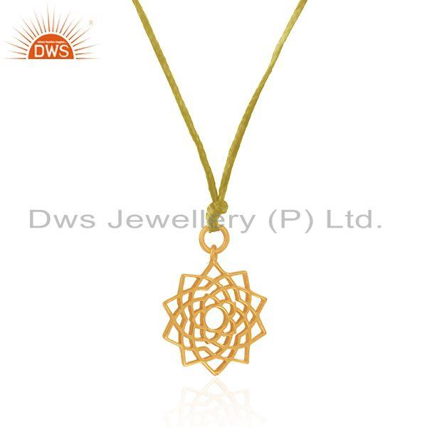 Exporter Yellow Gold Plated 92.5 Sterling Plain Silver Macrame Pendant Supplier