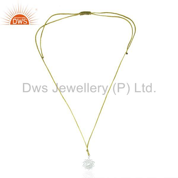 Exporter White Sterling Plain Silver Yellow Macrame Pendant Manufacturers