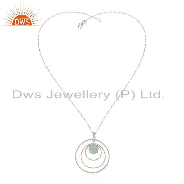 Supplier of Chalcedony Gemstone Fine 925 Silver Circle Chain Pendant Manufacturer India