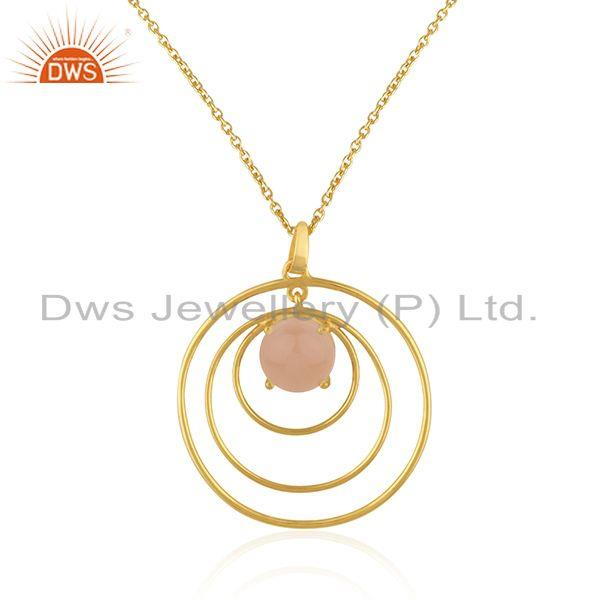 Indian Supplier of Rose Chalcedony Gemstone Gold Plated 925 Silver Circle Chain Pendant