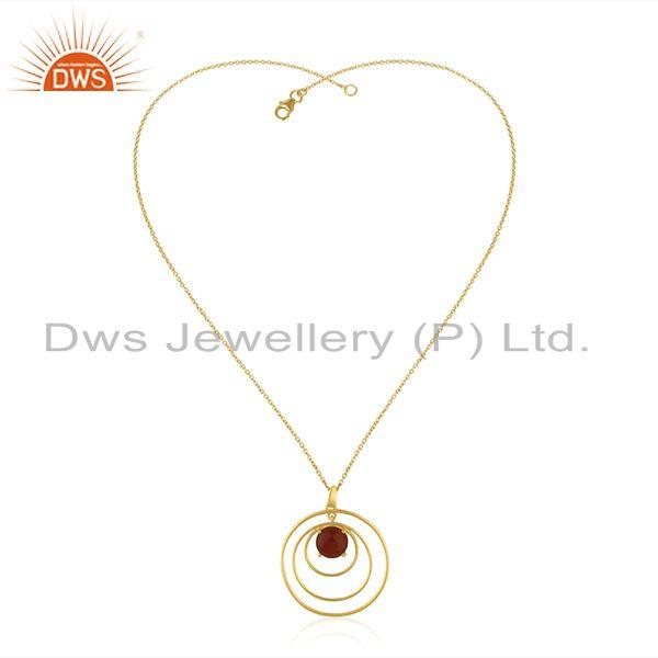 Supplier of Red Onyx Gemstone 925 Silver Yellow Gold Plated Chain Pendant Manufacturer India