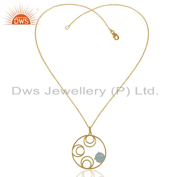 Supplier of Round Design Gold Plated 925 Silver Chalcedony Gemstone Pendant