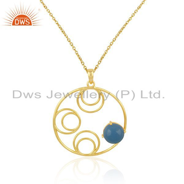 Supplier of New Designer 925 Silver Gold Plated Blue Chalcedony Gemstone Chain Pendant
