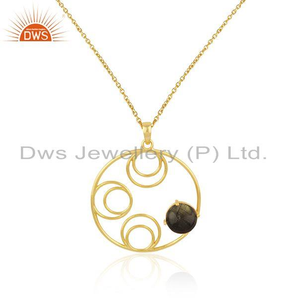 Supplier of Designer Rose Chalcedony Gemstone Gold Plated 925 Silver Pendant
