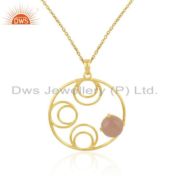 Supplier of Rose Chalcedony Gemstone 925 Silver Gold Plated Chain Pendant Wholesale