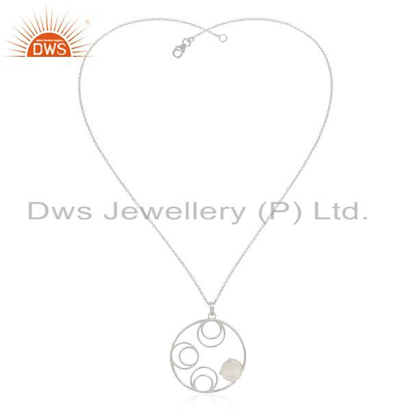 Supplier of 92.5 Sterling Silver Rainbow Moonstone Chain Pendant Wholesale