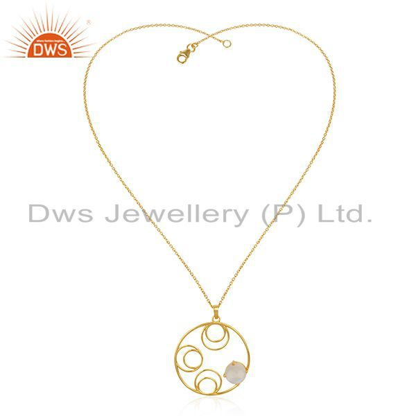 Supplier of Rainbow Moonstone 925 Sterling Silver Gold Plated Designer Pendant Wholesale