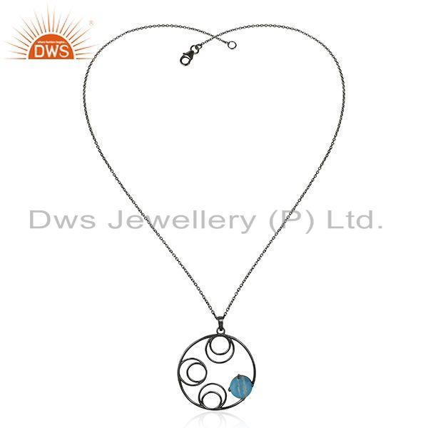 Supplier of 92.5 Silver Black Rhodium Plated Turquoise Gemstone Chain Pendant Manufacturers