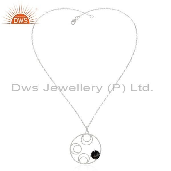 Supplier of 92.5 Sterling Silver Black Onyx Gemstone Chain Pendant For Womens