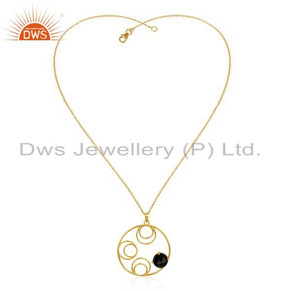 Supplier of 92.5 Silver Gold Plated Black Onyx Gemstone Chain Pendant Manufacturer India