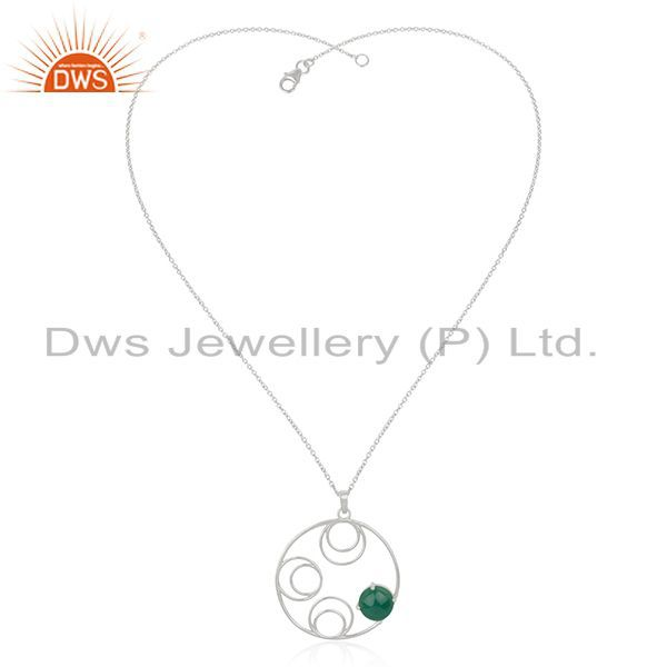 Supplier of Sterling Silver Green Onyx Gemstone Designer Chain Pendant Manufacturer India