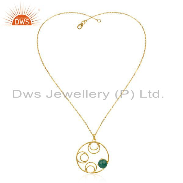 Supplier of Sterling Silver 14k Gold Plated Green Onyx Gemstone Designer Chain Pendant
