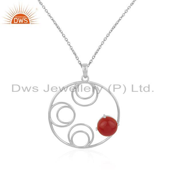 Supplier of Red Onyx Gemstone Sterling Silver Designer Pendant For Womens Jewelry Wholesale