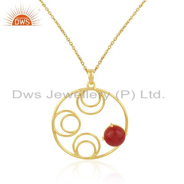 Indian Manufacturer of Red Onyx Gemstone Yellow Gold Plated Sterling Silver Chain Pendant