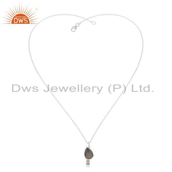 Exporter Labradorite Gemstone 925 Sterling SIlver Chain Pendant Wholesaler from India