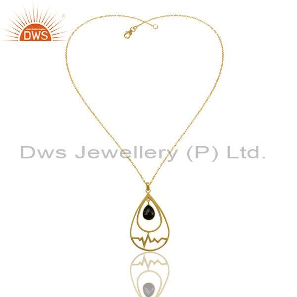 Exporter Hematite Simple Heartbeat Gold Plated Designer Silver Pendent