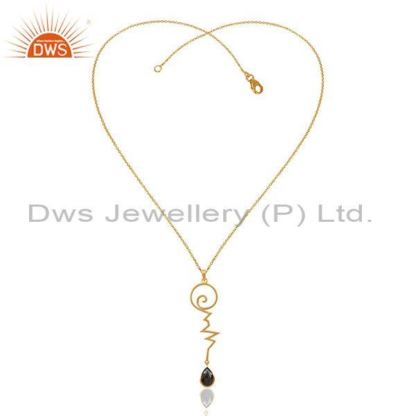 Exporter Hematite Heartbeat Gold Plated Designer Silver Wholesale Pendent