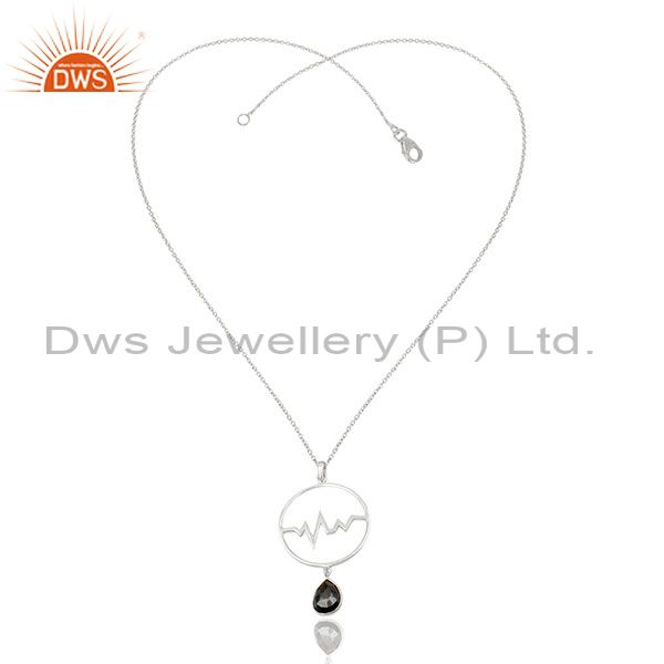 Exporter Hematite Heartbeat Round Shape Designer Silver Wholesale Pendent