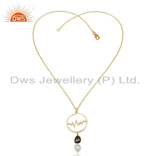 Exporter Hematite Heartbeat Round Shape Gold Plated Designer Silver Wholesale Pendent